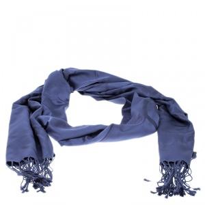 Loewe Blue Printed Silk Tassel Detail Stole