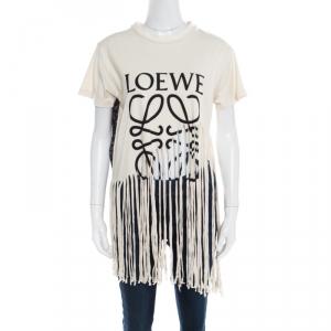 Loewe Cream Cotton and Silk Slub Jersey Logo Print Fringed T-Shirt L