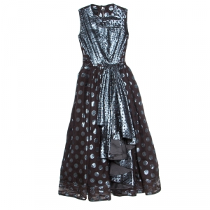 Loewe Brown and Metallic Blue Polka Dot Pattern Silk Pleat Detail Dress M - used