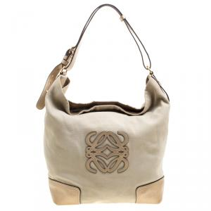 Loewe Beige/Gold Canvas and Leather Hobo