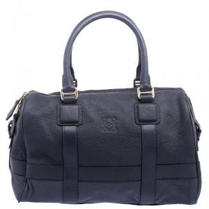 Loewe Hale Navy Leather Paseo Boston Bag