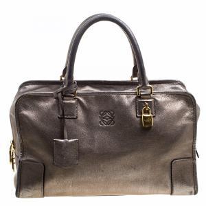 Loewe Metallic Beige Leather Amazona Satchel