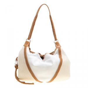 Loewe White and Brown Leather Hobo