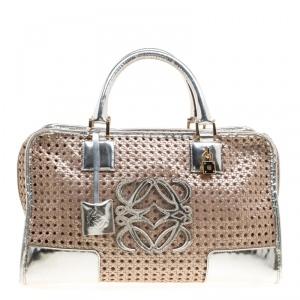 Loewe Metallic Peach/Silver Woven Leather Limited Edition Amazona Woven Bag