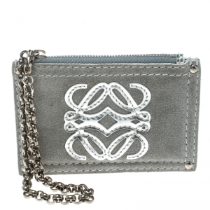 Loewe Sage Green Suede Chain Coin Purse