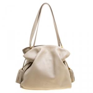 Loewe Light Beige Leather Tassel Shoulder Bag