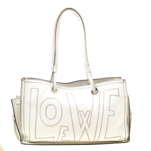 Loewe White Leather Shopping Tote