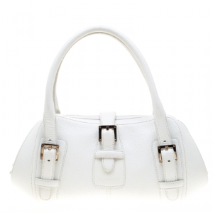 Loewe White Leather Senda Satchel