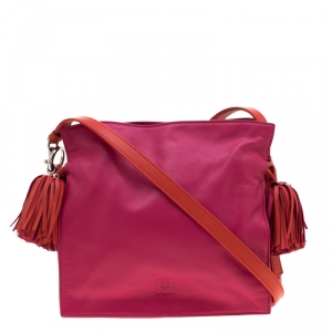 Loewe Pink/Coral Leather Small Flamenco Shoulder Bag