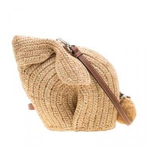 Loewe Beige Raffia Bunny Mini Crossbody Bag
