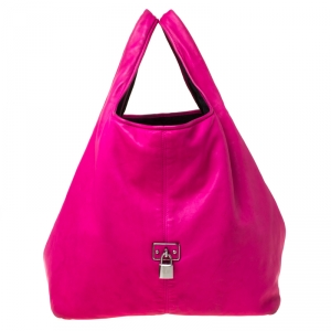 Loewe Hot Pink Calle Leather Shopper Tote