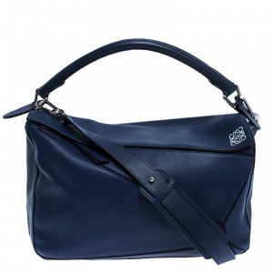 Loewe Navy Blue Leather Large Puzzle Bag