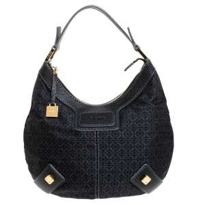 Loewe Black Monogram Fabric and Leather Hobo