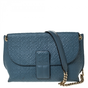 Loewe Blue Signature Embossed Leather Flap Shoulder Bag