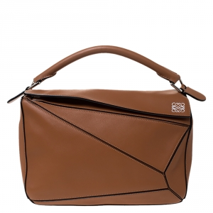 Loewe Tan Leather Medium Puzzle Shoulder Bag
