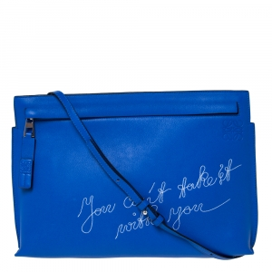 Loewe Blue Leather T Pouch Embroidered Clutch Bag