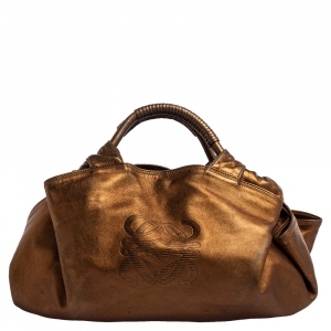 Loewe Metallic Brown Leather Aire Hobo