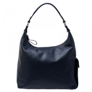 Longchamp Navy Blue Leather Le Foulonne Hobo