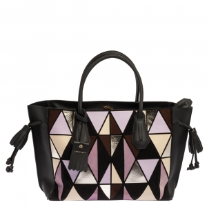 Longchamp Multicolor Leather and Suede Medium Penelope Arty Tote