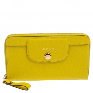 Longchamp Lime Leather Le Pliage Heritage Zip Around Wallet