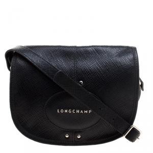 Longchamp Black Textured Leather Quadri Crossbody Bag