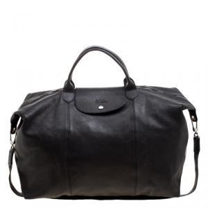 Long Champ Black Leather Oversize Le Pliage Tote