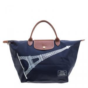 Longchamp Navy Blue Paris Print Nylon Medium Le Pliage Tote