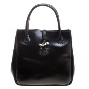 Longchamp Black Leather Mini Roseau Tote