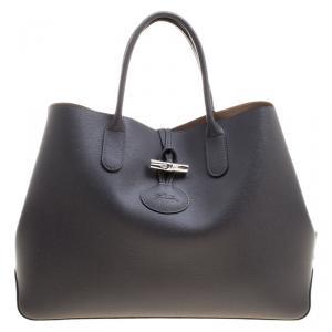 Longchamp Grey Leather Roseau Tote