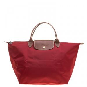 Longchamp Red Nylon Medium Le Pliage Tote