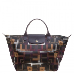 Longchamp Multicolor Printed Satin Medium Le Pliage Tote