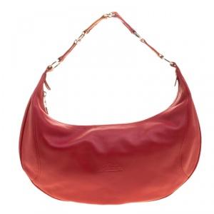Longchamp Red Leather Hobo