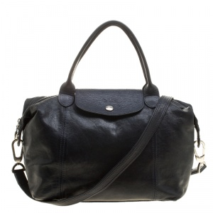 Longchamp Navy Blue Leather Small Le Pliage Tote