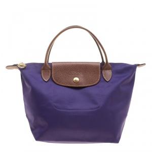 Longchamp Purple Nylon Medium Le Pliage Tote