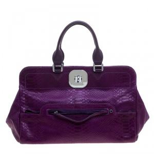 Longchamp Purple Python Embossed Leather Gatsby Tote