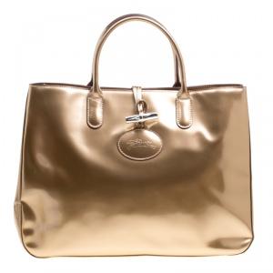 Longchamp Metallic Beige Patent Leather Roseau Tote