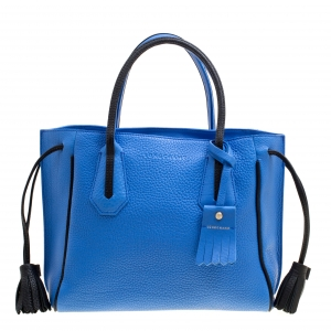 Longchamp Blue Textured Leather Penelope Fantaisie Tote