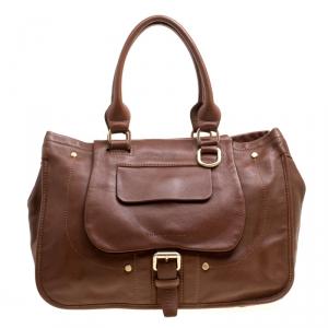 Longchamp Brown Leather Balzane Roots Top Handle Bag