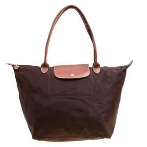 Longchamp Brown Nylon and Leather Medium Le Pliage Tote