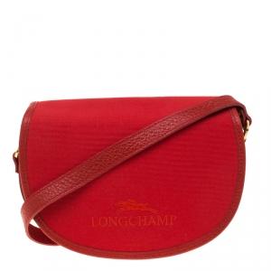 Longchamp Red Canvas and Leather Quadri Crossbody Bag
