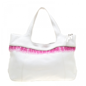 Longchamp White/Pink Leather Tote