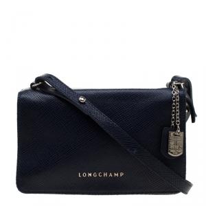 Longchamp Blue Leather Quadri Crossbody Bag