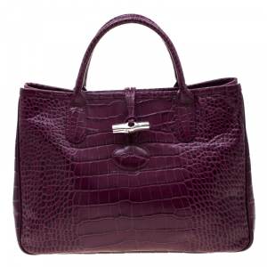 Longchamp Purple Croc Embossed Leather Roseau Tote