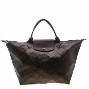 Longchamp Bronze Coated Fabric and Leather Le Pliage Tote
