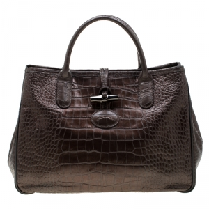 Longchamp Metallic Brown Croc Embossed Leather Roseau Tote