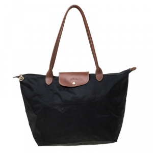 Longchamp Black Nylon and Leather Medium Le Pliage Tote