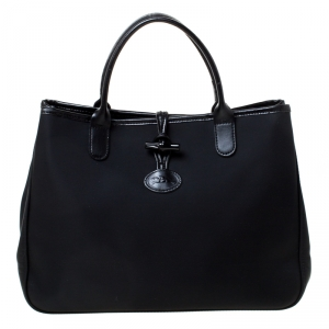 Longchamp Black Nylon and Leather Roseau Tote