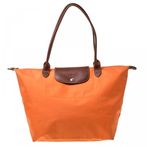 Longchamp Orange Nylon and Leather Medium Le Pliage Tote