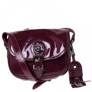 Longchamp Purple Patent Leather Flap Crossbody Bag