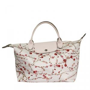Longchamp White Nylon Floral Print Canvas Tote Bag